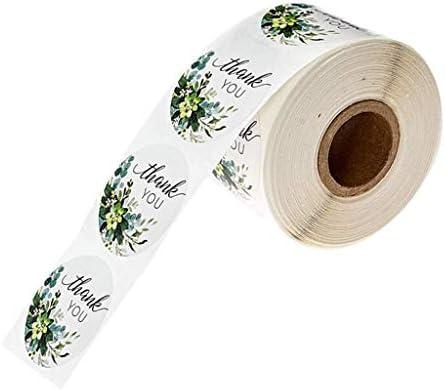 500Pcs Handgefertigte Green Label Aufkleber Thank You selbstklebende runde Aufkleber für Geschenke Basteln DIY Umschlag Versiegeln Süßigkeiten Cookie Party Supplies, weiß, 1 Rolle