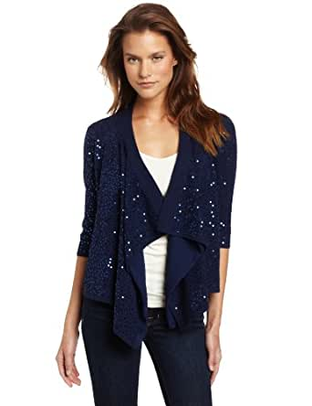 Minnie Rose Women's Sequin Fly Away Cardigan Sweater, Sapphire Sea, Small