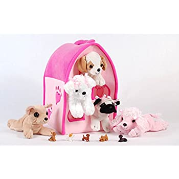 """Unipak 12"""" Plush Pink Dog House Carrying Case with Five (5) Stuffed Animal Dogs (Pink Poodle, Pug, Chihuahua, Beagle, and White Terrier) + Free Bonus Five Mini Puppy Figures"""