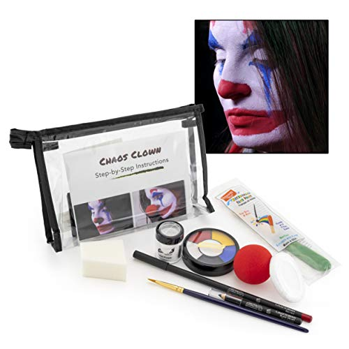 Graftobian Chaos Clown Makeup Kit – Complete 10 Piece Set for Joker Jester or Clown Halloween Costume – Full Color Instructions (Standard)