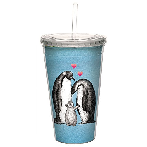 Tree-Free Greetings CC99046 Boho Penguin Family Double-Walled Acrylic Cool Cup with Reusable Straw, 16 Ounce