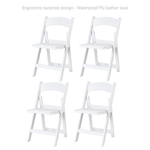 Modern Folding Plastic Dining Chair Durable PU Leather Padded Seat Comfortable Ergonomic Backrest Design Home Kitchen Living Room Office Furniture - Set of 4 #1732wh by Koonlert@Shop
