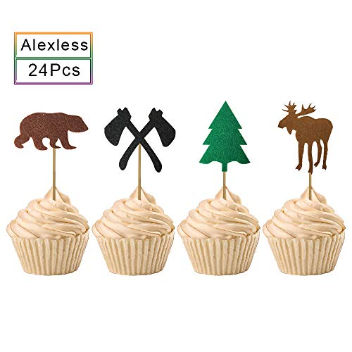 Alexless 24Pcs Lumberjack Camping Theme Cupcake Toppers Bear Elk Axe Evergreen Tree Woodland Cake Picks for Baby Shower Birthday Party Decoration (Woodland Wedding Cake)