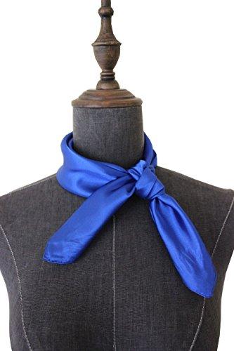 Silk square scarf pure color head scarf blend neckerchief (Royal blue) ()