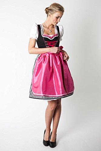 Ludwig und Therese Damen Trachten Dirndl-Set Emilia mini schwarz/pink 3tlg 11179 34