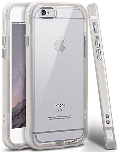 iPhone 6 Case, iPhone 6s Case, Ansiwee Reinforced PC Frame Crystal Durable Shock-Absorption Flexible Soft Rubber TPU Bumper Hybrid Protective Case for Apple iPhone 6/6s 4.7inch (Pearl White)