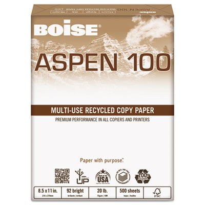 ASPEN 100% Multi-Use Recycled Paper, 92 Bright, 20lb, 11 x 17, White, 2500/CT, Sold as 2 Carton, 5 Ream per Carton by Boise (Image #1)