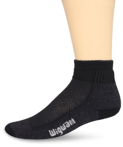 Quarter Wigwam Socks - Wigwam Men's Cool-Lite Hiker Pro Quarter Socks, black, Sock size : Large/Shoe Size : Men's 9-12 , Women's 10-13