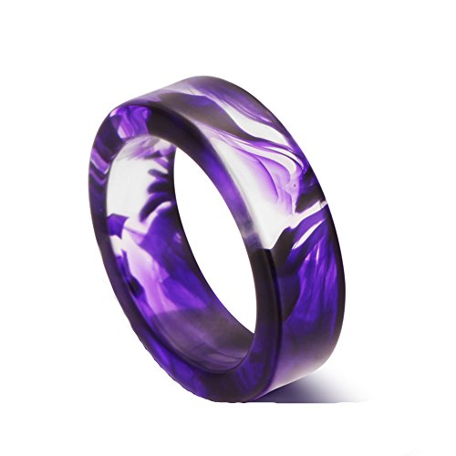 AUMRET Pattern Blood Drops Female Ring Romance Vampire Blood Resin Ring (Purple, 8)