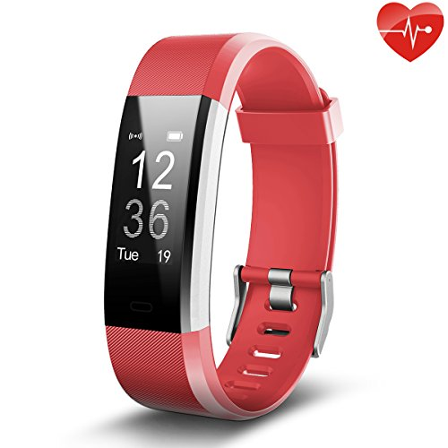 Juboury Fitness Tracker, Slim Heart Rate Smart Bracelet Wearable Pedometer Touch Screen Activity Tracker Fitness Watch for Android and IOS Smart Phones (Red) by Juboury