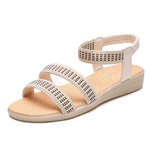 Sandalias de vestir, Ouneed ® Mujeres Bohemia Plano Ocio Sandalias Zapatos Peep-Toe (37, rojo)