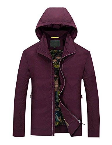 Zip Men's Trench Red Up Loose Wine Lapel Coat Short Yeokou Solid Color Jacket Hood gXgdfq