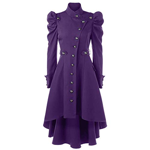 HOSOME Women Jacket Vintage Steampunk Long Coat Gothic Overcoat Ladies Retro Tops Purple