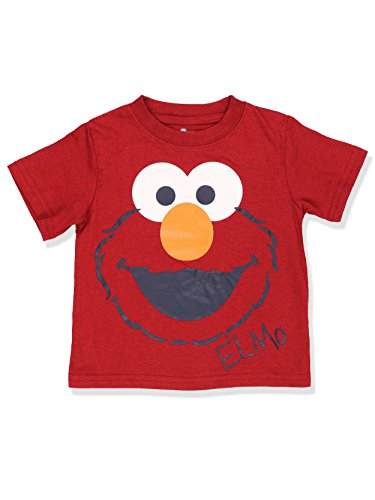 1st T-shirt - Sesame Street Boys Short Sleeve Tee (18 Months, Red Elmo Face)