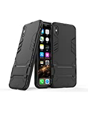 Miagon Kickstand Case for iPhone X/XS,Cool Dual Layer Hard PC Back Case with Stand Function Shockproof Full Body Cover,Black