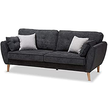 Fabulous Amazon Com Baxton Studio Miranda Tufted Sofa In Dark Gray Pabps2019 Chair Design Images Pabps2019Com