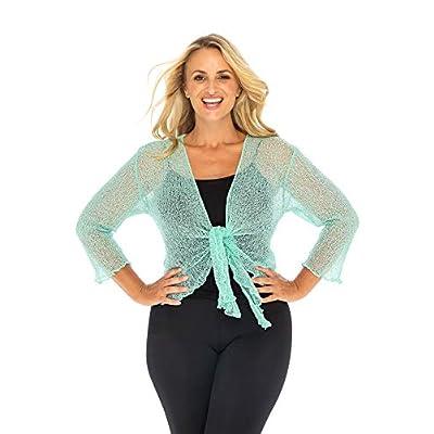 Back From Bali Womens Plus Size Shrug Bolero Sheer Cardigan Arm Cover 2X 3X 4X Lightweight Sweet Aqua at Women's Clothing store