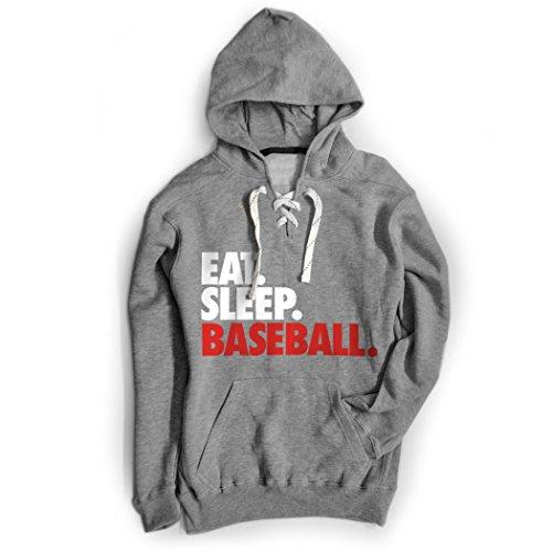 Lace Hooded (ChalkTalkSPORTS Baseball Sport Lace Sweatshirt Eat. Sleep. Baseball.)