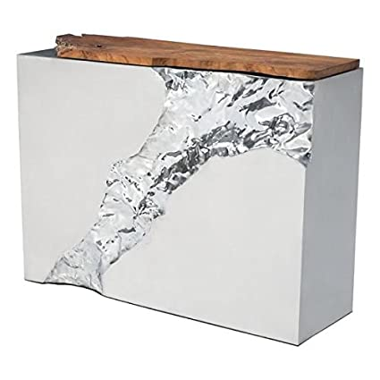 Zuo Luxe Console Table, Natural U0026 Stainless Steel