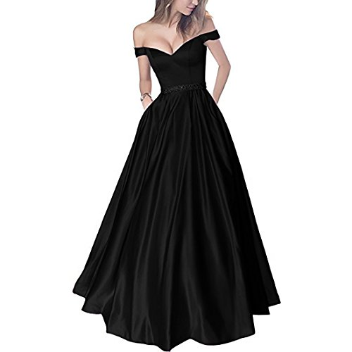 Lemai Off Shoulder Beaded Satin V Neck Corset Long Prom Dresses Evening Gowns Black US 2