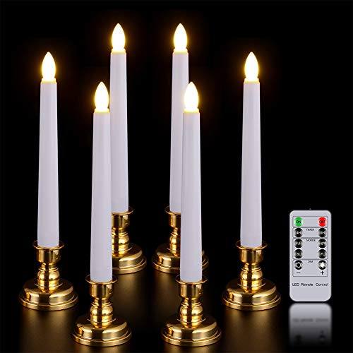 Window Candles with Remote Timer, PChero 6 Packs Battery Operated Warm White LED Flameless Taper Candles with Golden Removable Candle Holders, Perfect for Wedding Christmas Valentines Table Decoration