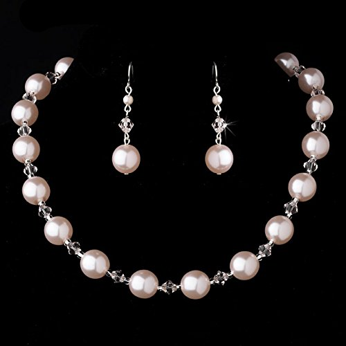 Stunning Pink Faux Pearl and Swarovski Crystal Necklace and Earring Set
