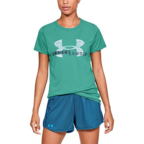 Under Armour Women's Tech Short sleeve Crew Graphic, Green Malachite (349)/Utility Blue, Small by Under Armour (Image #1)