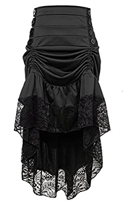 Charmian Women's Steampunk Victorian Gothic Lace Trim Ruffled High Low Skirt