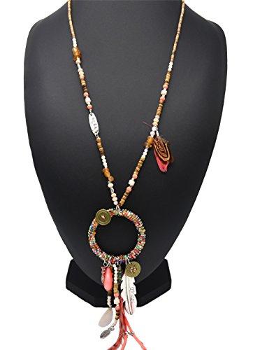CL1513F - Sautoir Collier Bois, Pierres Pendentif Cercle Perles Rocaille avec Multi Charms et Plumes Ethnique Corail