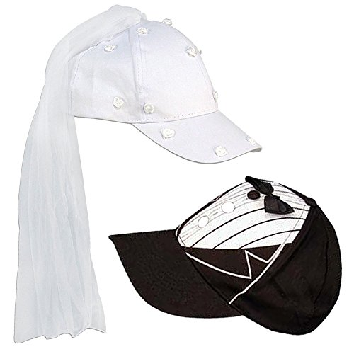 Adult Novelty Bride & Groom Wedding Cap Set White, Black