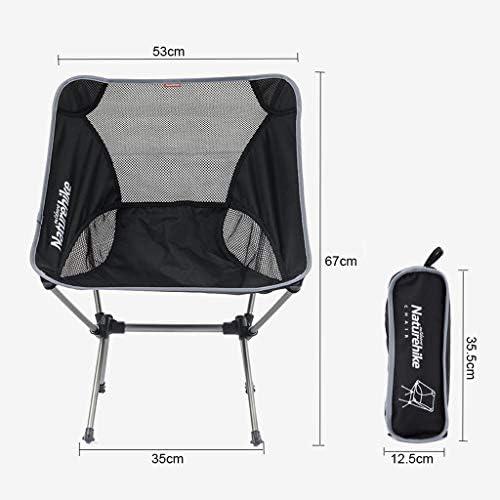 XUQIANG Chaise extérieure Portable Chaise Pliante Camping Chaise Longue de Plage Ultra-légère Chaise de Loisirs Dos Chaise de pêche Tabouret Noir Chaise Pliante