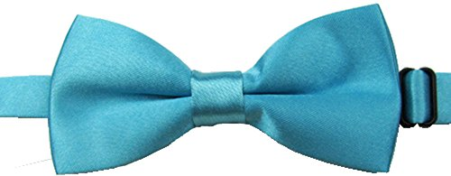 Adjustable Boys Bow Tie Solid Pre Tied for Wedding Party Dress up Turquoise