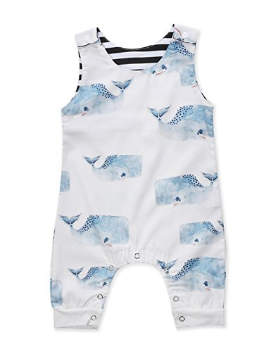 leeveless Blue Whales Print Romper Jumpsuit Animal Outfit (18-24M, White) (Animal Romper)