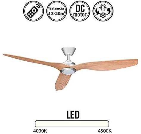 Ventilador de techo con luz Led DELFOS niquel/haya: Amazon.es: Hogar