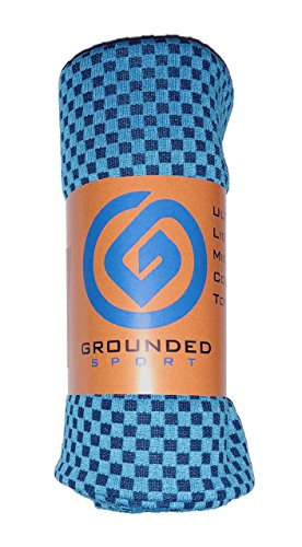 "Cooling Towel (packaged as shown) by Grounded Sport | Bamboo Microfiber Sport Cooling Towel for Gym, Outdoors or Travel | Ultra Lite 12""x39"" in two-tone Blue (1) (Day Tv Christmas Nba On)"