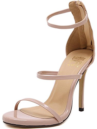AGECC Fine High-Heeled Sandals With A Fine With Female Wedding Shoes Nude color