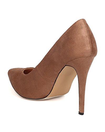 BETANI FE14 Women Faux Suede Pointy Toe Single Sole Stiletto Pump Taupe iIZiy0y