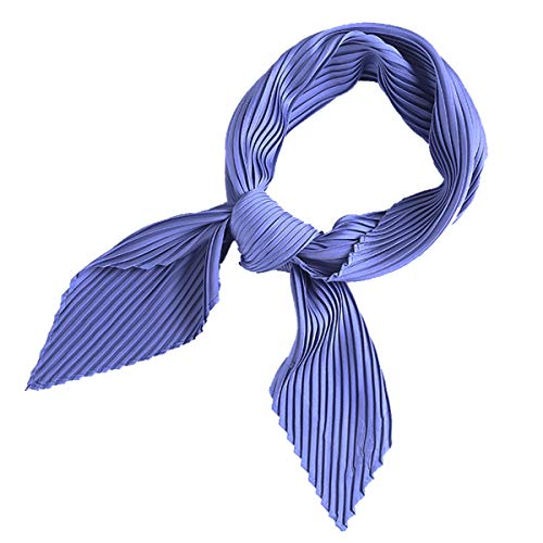 AOLIGE Hair Scarf Satin Head Neck Scarfs for Women (pleated blue)