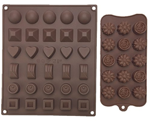 Qrc Kit (Motina 2-Pack Silicone Chocolate Molds Brown Non-stick Silicone Square Chocolate Cady molds for Making Homemade Chocolate Peanut Butter Cup, Gummy,Jelly and)