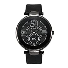 JSDDE Unisex Roman Numeral Scale Genuine Leather Band Large Face Watch 98FT/30M/3ATM Water Resistant All Black