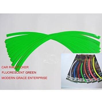 16 tiras reflectantes para rueda de motocicleta o coche, vinilo adhesivo en color verde fluorescente: Amazon.es: Coche y moto