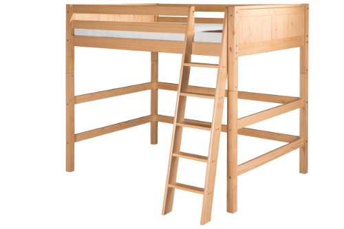 Camaflexi Panel Style Solid Wood High Loft Bed, Full, Side Angled Ladder, Natural