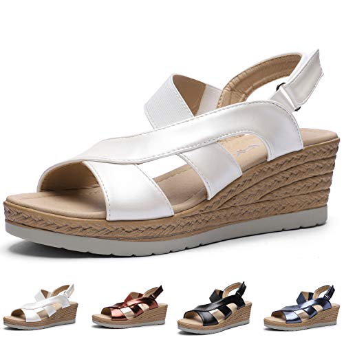 CINAK Platform Sandals for Women  Comfort Ankle Strap Buckle Casual Summer Wedge Shoes White
