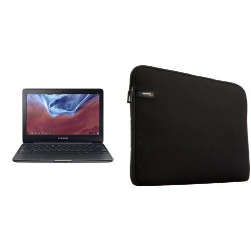 "Price comparison product image Samsung Chromebook 3, 11.6"", 4GB RAM, 16GB eMMC, Chromebook (XE500C13-K04US) & AmazonBasics 11.6-Inch Laptop Sleeve"