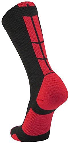 fan products of Twin City Multisport Baseline 3.0 Crew Socks,Black/Scarlet,Large