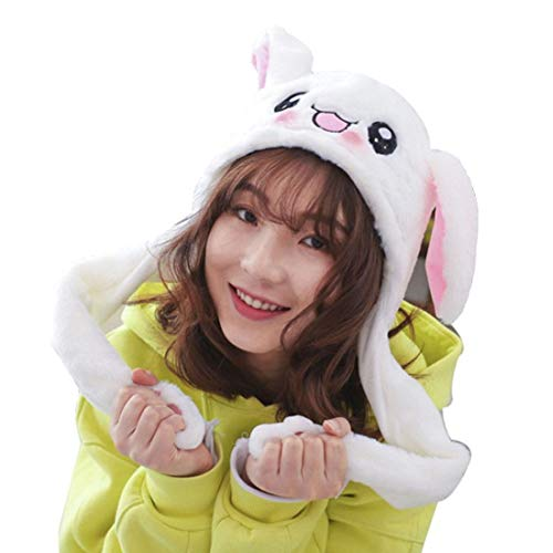 tume Props Plush Bunny Hat Cute Animal with Movable Ears-Ideal Gift for Party and Celebrations (White Rabbit) ()