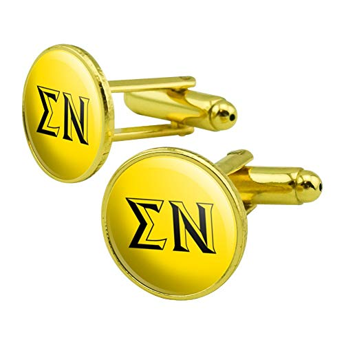 (GRAPHICS & MORE Sigma Nu Fraternity Greek Letters Black Yellow Officially Licensed Round Cufflink Set Gold Color)