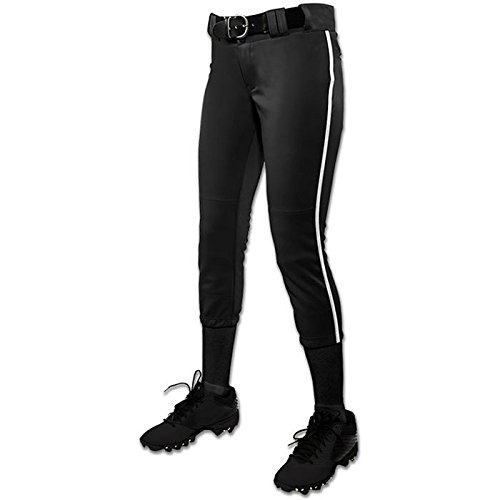 CHAMPRO Girl's (Youth) Tournament Fastpitch Pant with Piping Black/White Large