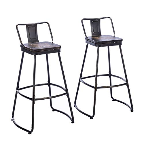 ALISH 30 Inch Swivel Metal Bar Stools with Backs Indoor-Outdoor Distressed Stools Pack of 2 30 inch, Distressed Bronze