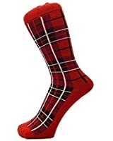 New Man Ankle Red Tartan Quality Socks UK 6-11, Euro 39-45